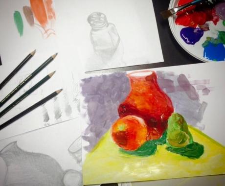 Kurs malarstwa dla Anabelli, podopiecznej Domu Dziecka w Kaczorowie